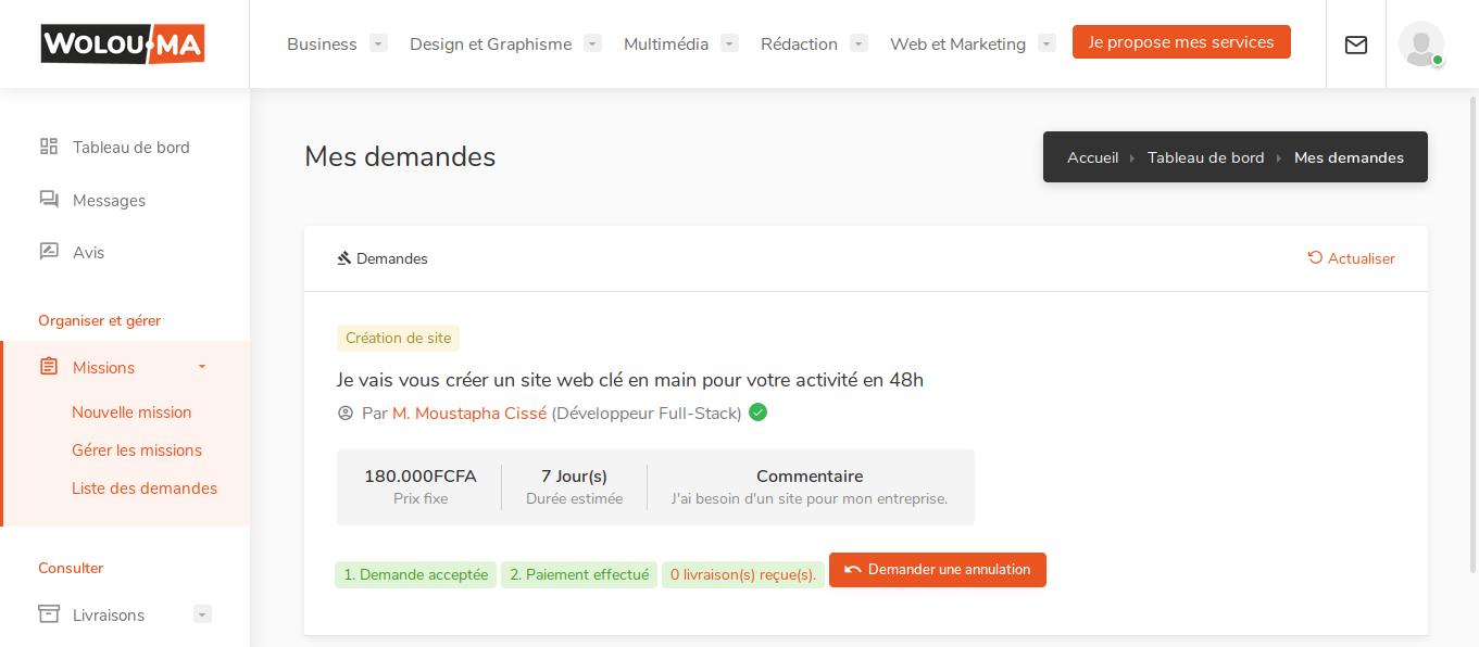 Interface client de suivi des demandes